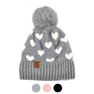 Women's Hearts and Pom Pom Knit Winter Hat
